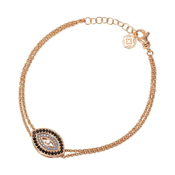 Blue Evil Eye Chain Bracelet - Rose Gold - Goldoni Milano