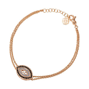 Blue Evil Eye Chain Bracelet - Rose Gold-Goldoni Milano