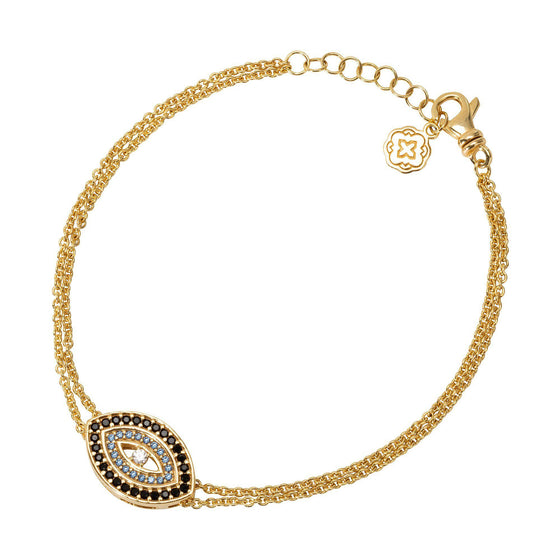 Blue Evil Eye Chain Bracelet - Gold - Goldoni Milano