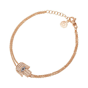 Hamsa Chain Bracelet - Rose Gold-Goldoni Milano