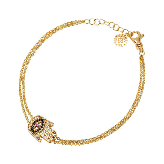 Red Nails Hamsa Chain Bracelet - Gold - Goldoni Milano