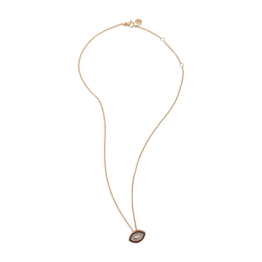 Blue Evil Eye Necklace - Rose Gold-Goldoni Milano