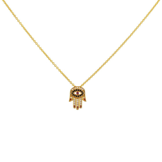 Red Nails Hamsa Necklace - Gold - Goldoni Milano