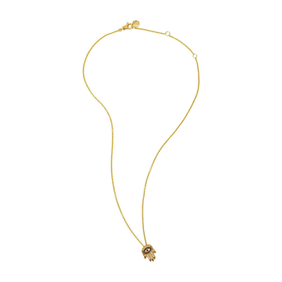 Red Nails Hamsa Necklace - Gold-Goldoni Milano