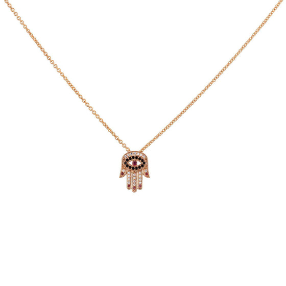 Red Nails Hamsa Necklace - Rose Gold - Goldoni Milano