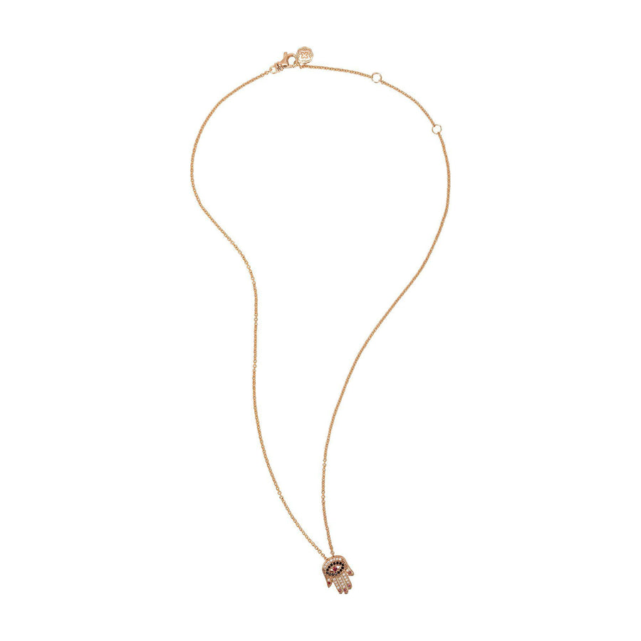 Red Nails Hamsa Necklace - Rose Gold-Goldoni Milano