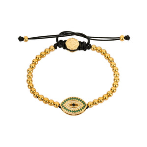 Emerald Evil Eye Bracelet - Gold-Goldoni Milano