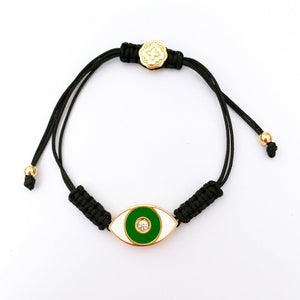Green Enamel Evil Eye Bracelet - Gold