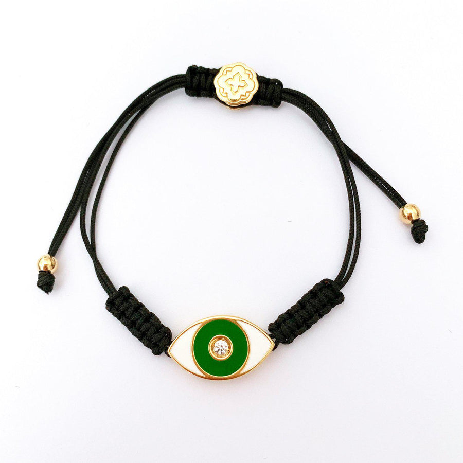 Green Enamel Evil Eye Bracelet - Gold-Goldoni Milano