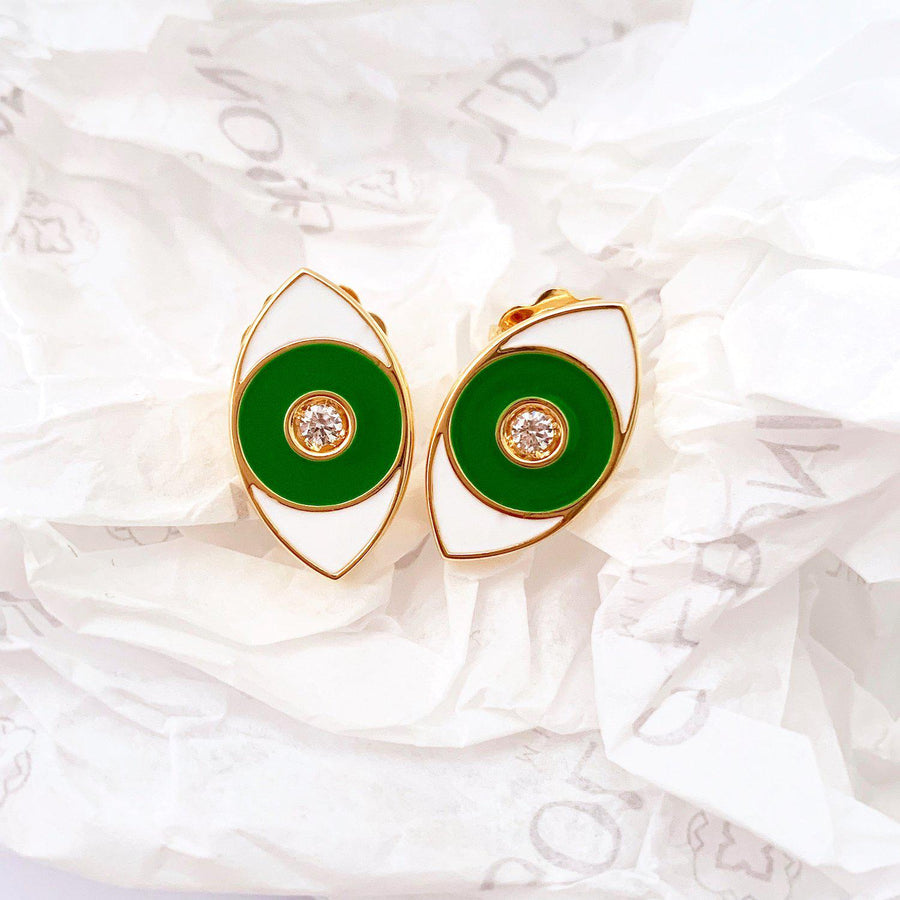 Green Enamel Evil Eye Earrings - Gold - Goldoni Milano