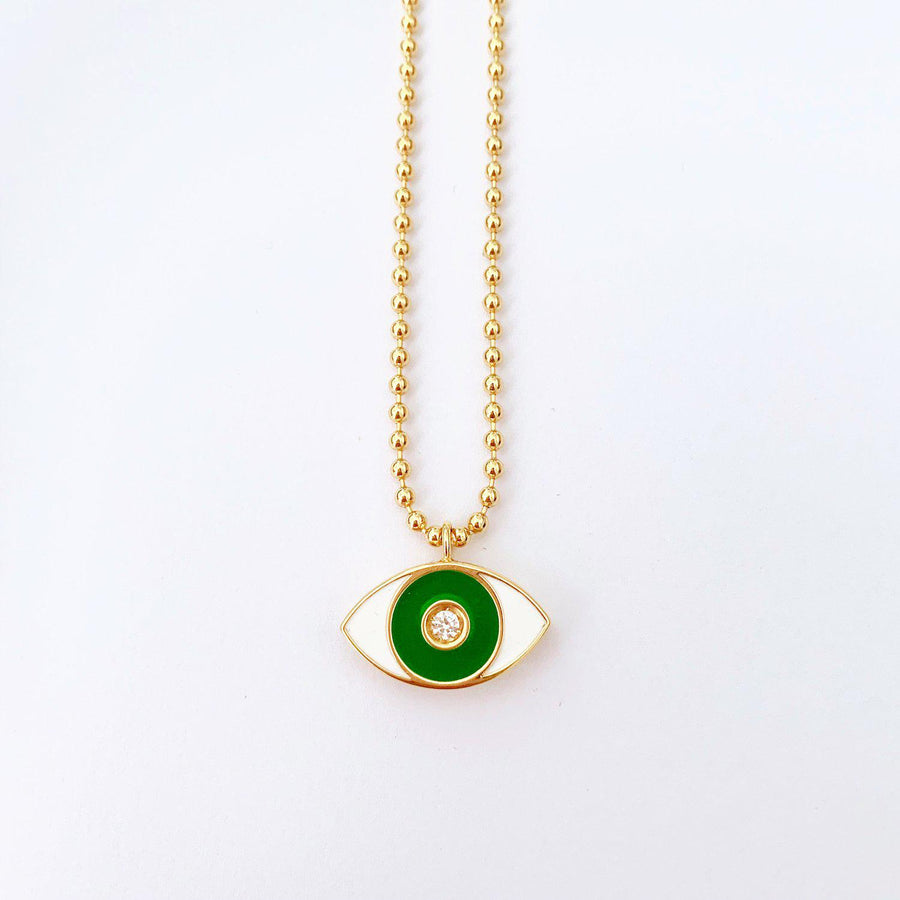 Green Enamel Evil Eye Necklace - Gold-Goldoni Milano