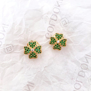 Green Four Leaf Clover Earrings - Gold-Goldoni Milano