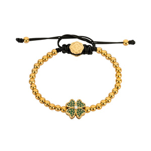 Green Four Leaf Clover Bracelet - Gold-Goldoni Milano