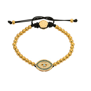 London Blue Evil Eye Bracelet - Gold-Goldoni Milano