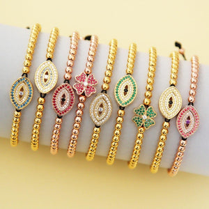 London Blue Evil Eye Bracelet - Gold - Goldoni Milano