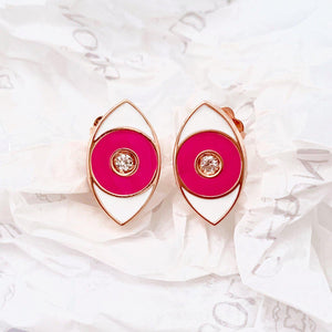 Pink Enamel Evil Eye Earrings - Rose Gold