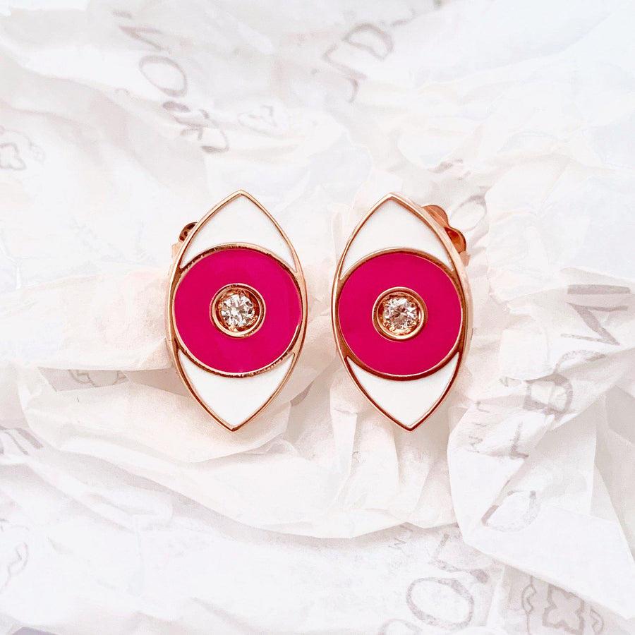 Pink Enamel Evil Eye Earrings - Rose Gold - Goldoni Milano