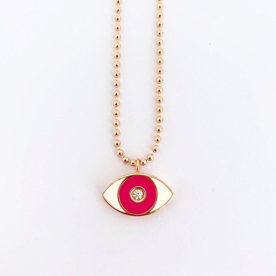 Pink Enamel Evil Eye Necklace - Rose Gold-Goldoni Milano