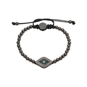 Green Evil Eye Bracelet - Ruthenium - Goldoni Milano