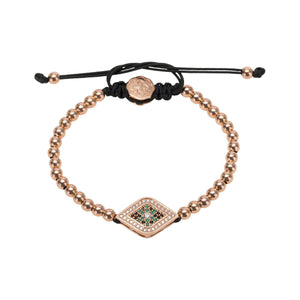 Green Evil Eye Bracelet - Rose Gold - Goldoni Milano