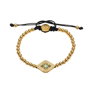 Green Evil Eye Bracelet - Gold - Goldoni Milano