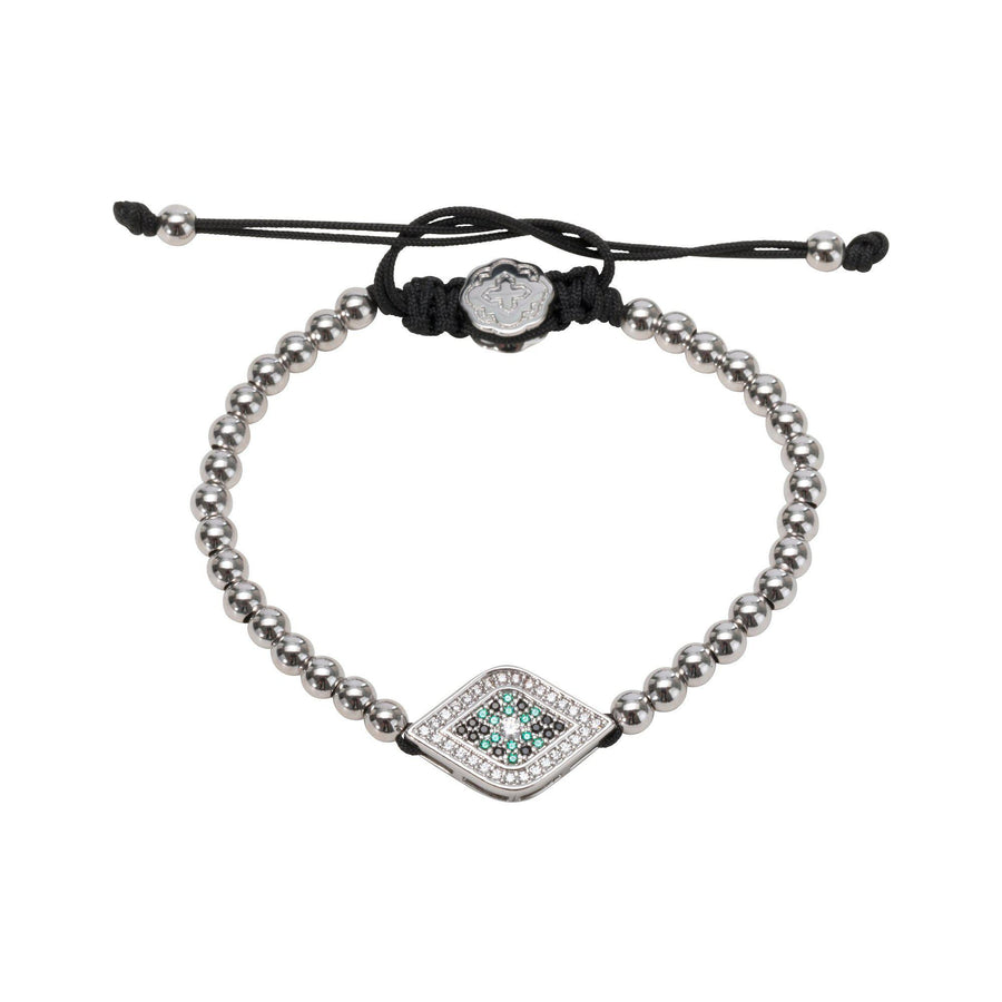 Green Evil Eye Bracelet - Rhodium - Goldoni Milano