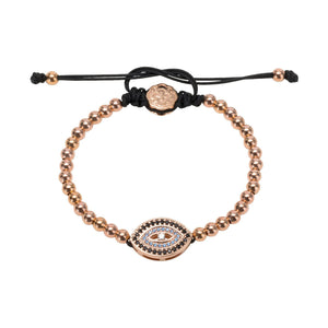 Blue Evil Eye Bracelet - Rose Gold-Goldoni Milano
