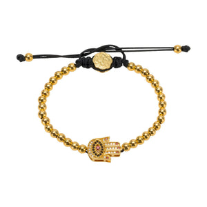 Red Nails Hamsa Bracelet - Gold - Goldoni Milano