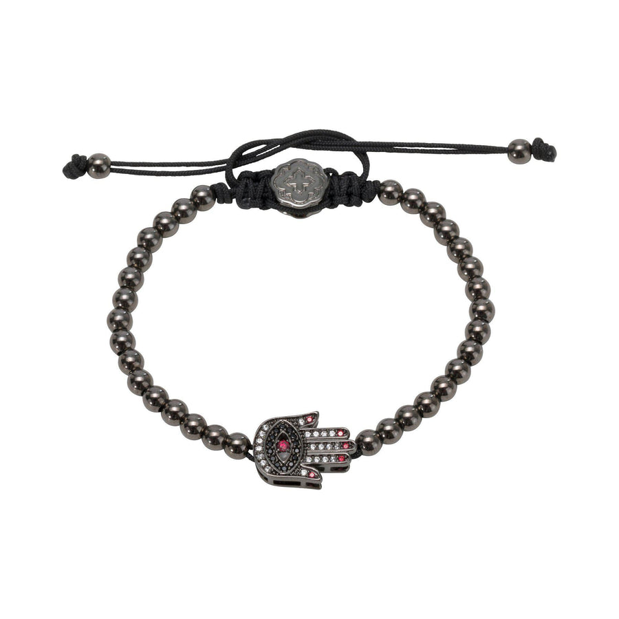 Red Nails Hamsa Bracelet - Ruthenium - Goldoni Milano