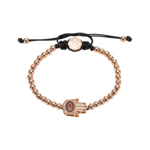 Red Nails Hamsa Bracelet - Rose Gold-Goldoni Milano