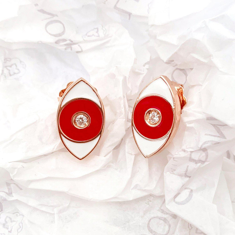 Red Enamel Evil Eye Earrings - Rose Gold-Goldoni Milano
