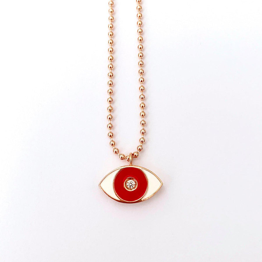 Red Enamel Evil Eye Necklace - Rose Gold - Goldoni Milano