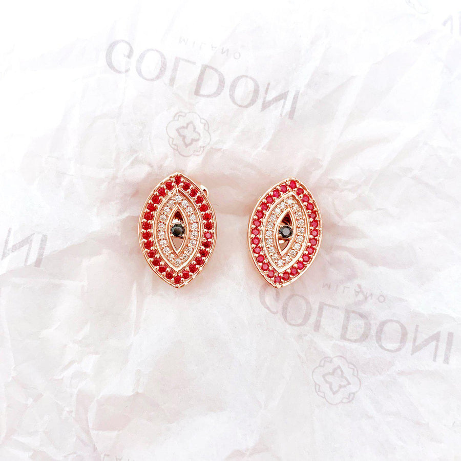 Red Evil Eye Earrings - Rose Gold-Goldoni Milano