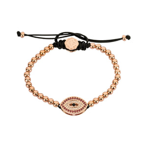 Red Evil Eye Bracelet - Rose Gold - Goldoni Milano