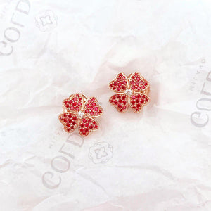 Red Four Leaf Clover Earrings - Rose Gold