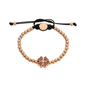 Red Four Leaf Clover Bracelet - Rose Gold-Goldoni Milano