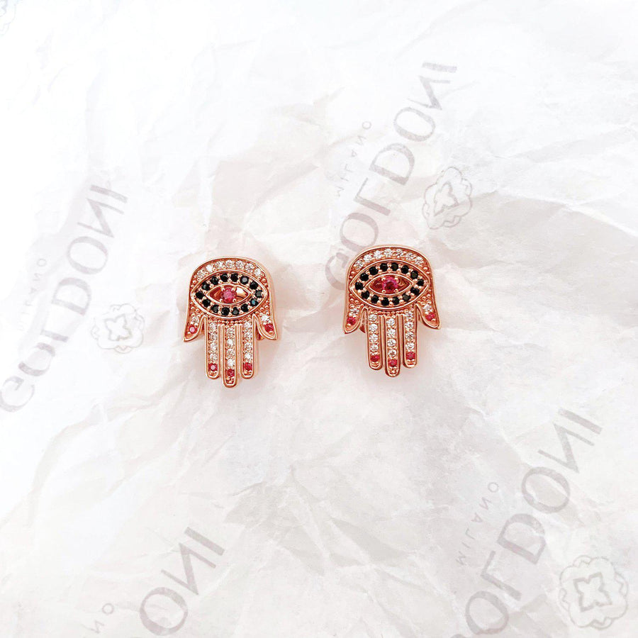 Red Nails Hamsa Earrings - Rose Gold-Goldoni Milano