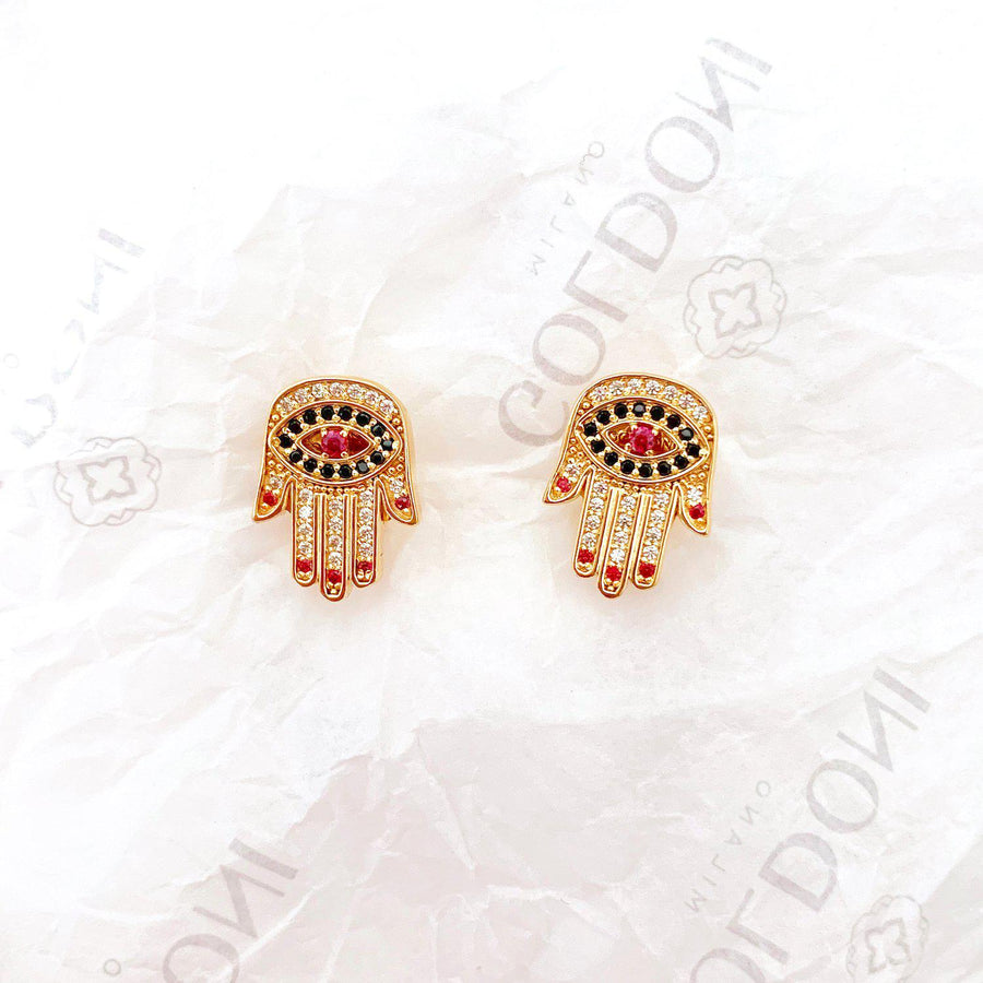 Red Nails Hamsa Earrings - Gold