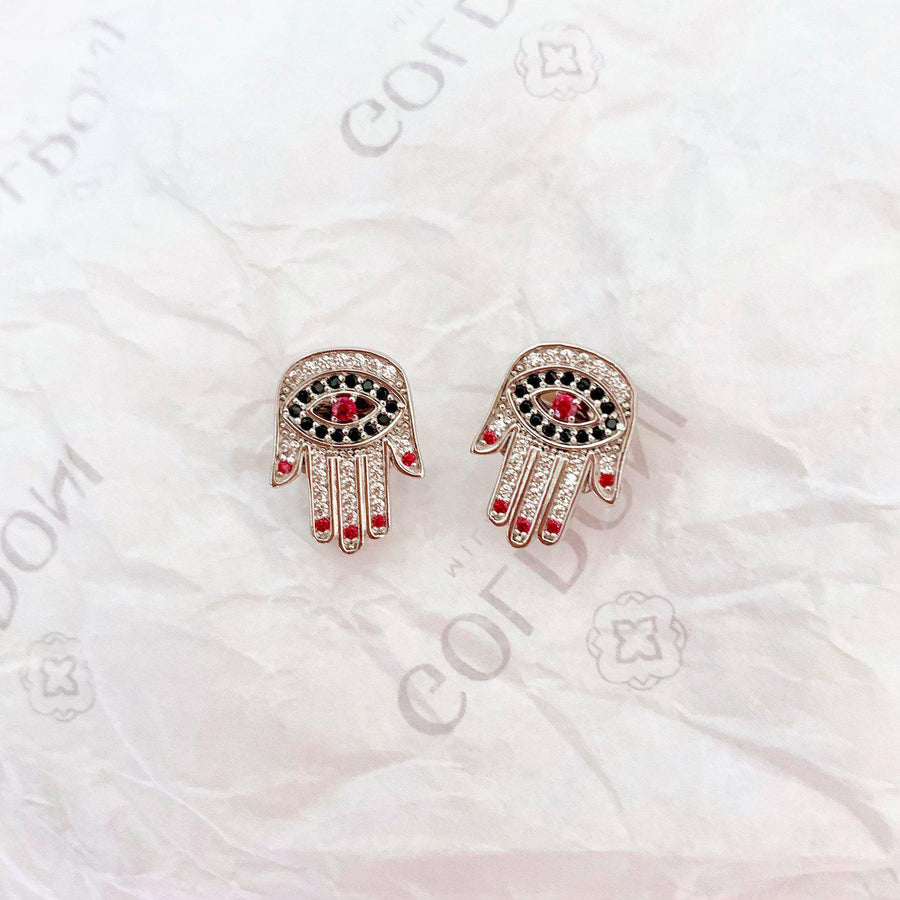 Red Nails Hamsa Earrings - Rhodium - Goldoni Milano