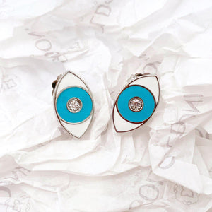 Turquoise Enamel Evil Eye Earrings - Rhodium-Goldoni Milano