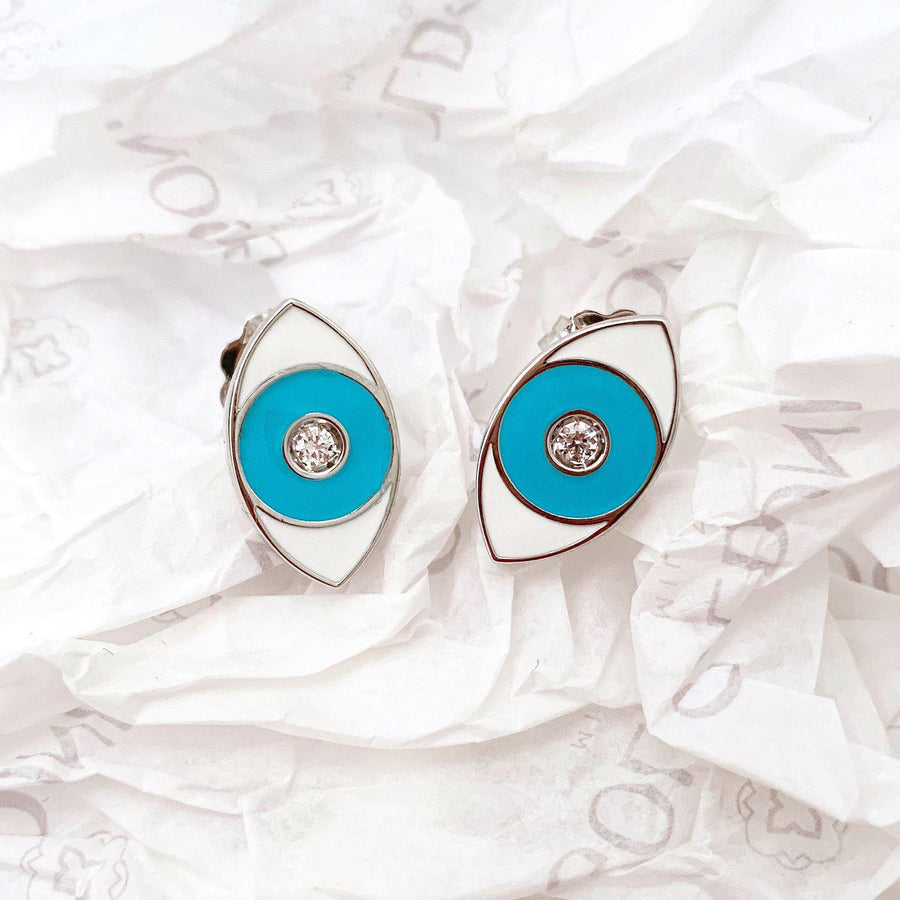 Turquoise Enamel Evil Eye Earrings - Rhodium