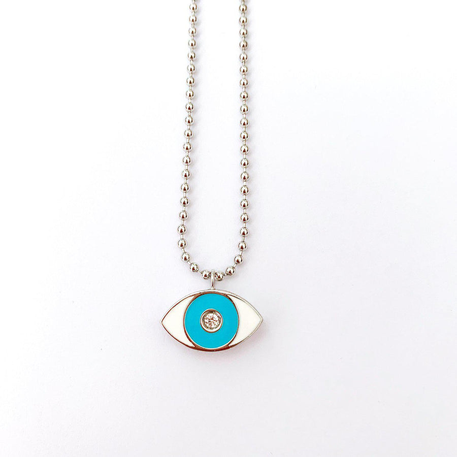 Turquoise Enamel Evil Eye Necklace - Rhodium - Goldoni Milano