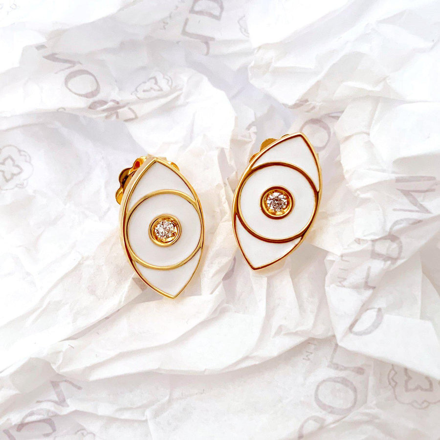 White Enamel Evil Eye Earrings - Gold