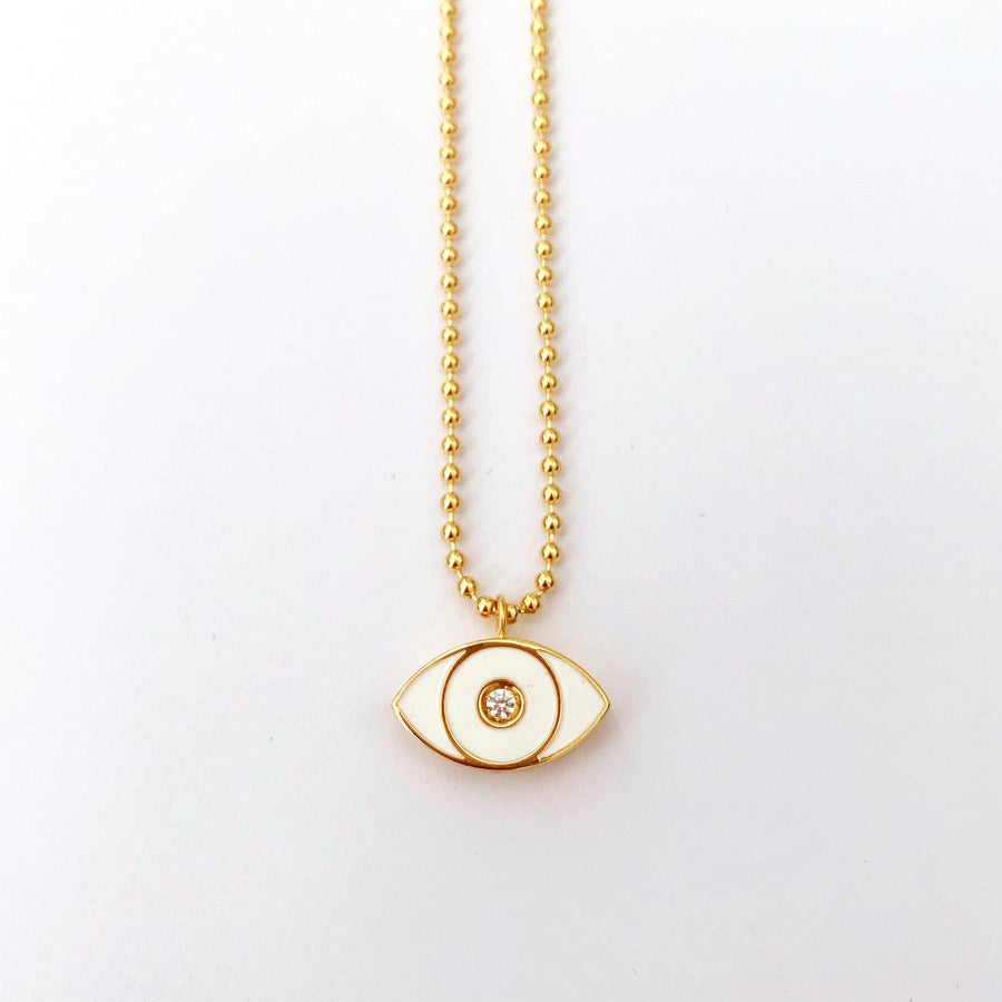 White Enamel Evil Eye Necklace - Gold-Goldoni Milano