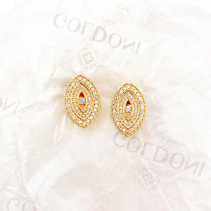 White Evil Eye Earrings - Gold-Goldoni Milano