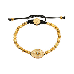 White Evil Eye Bracelet - Gold - Goldoni Milano