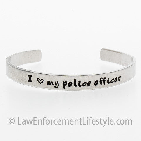 I Love my Police Officer Cuff Bracelet