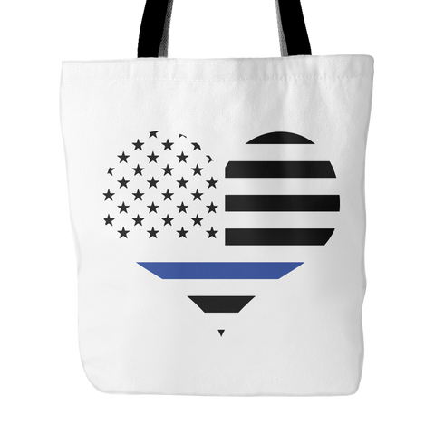 Blue Line Heart Tote