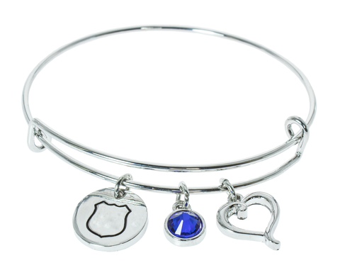 Badge, Stone, and Heart Bangle