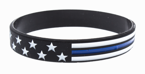 Thin Blue Line Stars And Stripes Silicone Bracelet